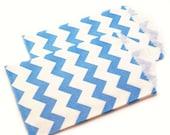 AQUA BLUE chevron favor bags - 20 mini 2.75 x 4 chevron party favor bags - mini chevron gift bags, wedding favor bags, party favor bags