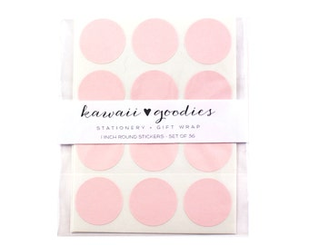 36 Light Pink Circle Stickers - 1 inch round light pink labels - FREE SHIPPING