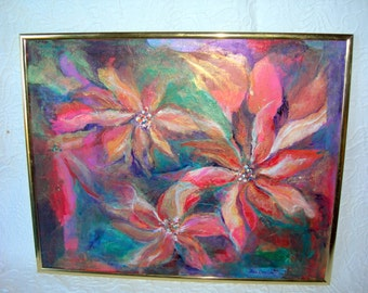 Original Oil Painting signed by Fran Smith-vintage-16 x 20-Framed-Large Flowers