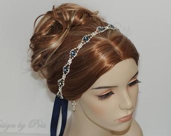 HPH2.DB - Bridal Swarovski Rhinestone in Denim Blue or Sapphire and Rhinestone Crystals Headbands - Bridal.Hairpiece.Accessories