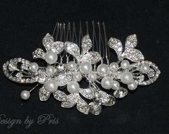 Bridal Accessories Wedding Hair Accessories Bridal Rhinestone Pearls Comb NEW -  Bridal Crystal and Swarovski White Pearls Hair Comb