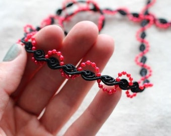BLACK spiral Guimp trim with RED faux beads