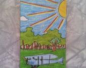 Children's Art Curtiss JN-4  Biplane Airplane Aircraft Magnet by Young Artist - Thomas B Art