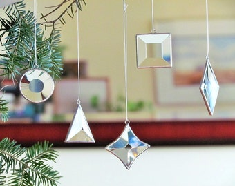 Geometric Glass Ornaments Christmas Tree Decorations, Mini Stained Glass Suncatchers, Holiday Gift Set, Stocking Stuffers, Set of Five