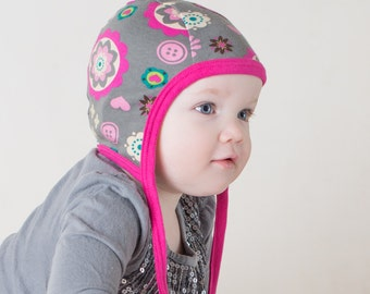 Baby Pilot hat, hearing aid hat, gray floral pink cotton knit cap, toddler hat with ties, scadanavian hat,baby shower gift, baby bonnet girl