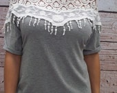 Womens Grey Crochet Lace Top - Free Shipping to USA - Batwing shirt, Boatneck Top, Heather Grey