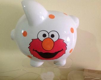 Personalized Large Elmo Sesame Street Piggy Bank Newborns, Boys ,Girls Gift Baby Shower Centerpiece 1st Christmas Easter Christening