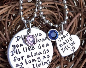 Personalized Hand Stamped I'll love you forever necklace