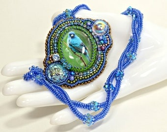 Blue and Green Necklace Bird Bead Embroidered Indigo Bunting