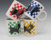 Four mugs with Scottish Terriers checkerboard made in Japan