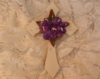 Sparkle Shabby Cottage Chic Lavender Rose & Pearl White Washed Wooden Wall Cross
