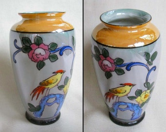 One Vintage Japanese Porcelain Lusterware Vase, Apricot and Blue Two Tone Luster Glazed Ceramic Vase with Handpainted Bird and Flower Design