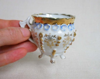 Vintage Miniature Porcelain Fancy Footed Teacup, Blue and White Design with Metallic Gold Rim and Embellishments, Collectible Teacup