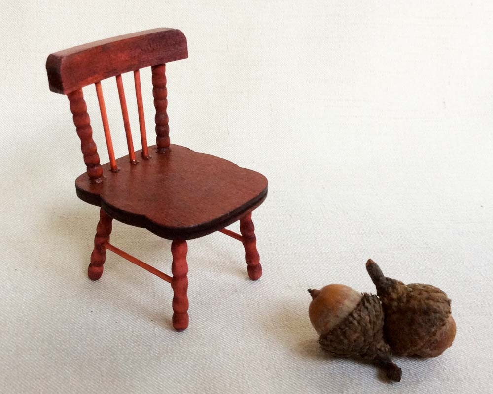 Vintage Dollhouse Furniture Miniature Wooden Chair Miniature