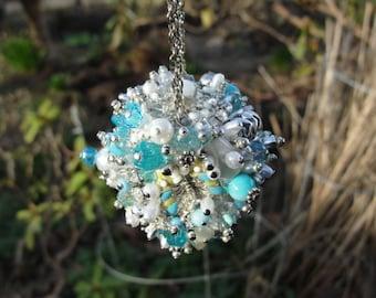 Ornament Aqua Blue Silvertone White Art Piece OOAK Vintage Jewelry Assemblage