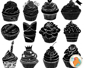 Birthday Cupcake Silhouette Clip Art, Cupcake Digital Stamps, Vinyl Cutter PNG Clipart, Instant Download