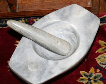 VintageOblong Gray Marble Pharmacutical Pharmacy Medicine Herb Mortar n Pestal
