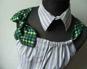 Repurposed Mens Shirt for Women, Striped Tank Top Tunic, Refashioned Neckties, Brown, Blue, Green Pinstripe Blouse, Preppy Tank Top, Altered