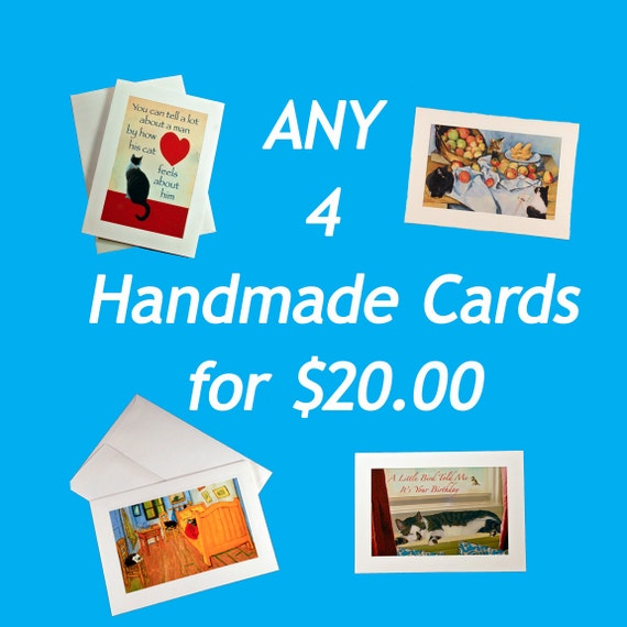 Cat Art Cards- Any 4 Handmade Cat Cards for 20 dollars- Special bundle- LOL Cats- Cat Crazy