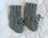 Knitted Baby knee-high Boots  - Light Gray