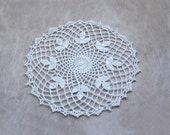Irish Clover Lace Crochet Doily, Cottage Chic Home Decor, New White Table Topper
