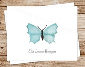 blue butterfly personalized stationery, stationary - set of 8 - folded note cards, notecards - nature, spring - choose font