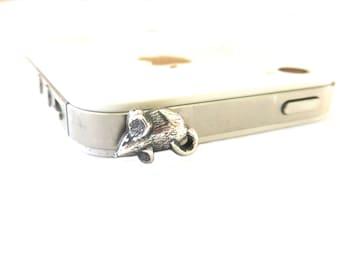 Mouse Dust Plug- iPhone IPad & Cell Phone Dust Plug- Silver