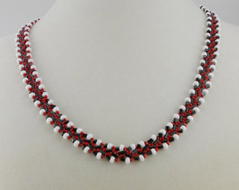 Red, White and Black Necklace