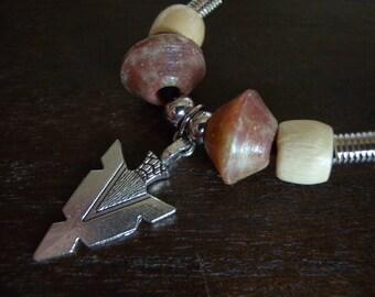 Arrowhead Leather Choker with Soapstone and Wood Beads