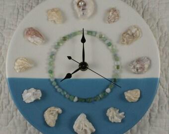 Ocean Horizon Clock with Perdido Bay Oyster Shells