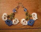 crochet earrings, blue white green