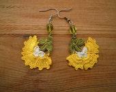 crochet earrings, yellow flower