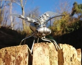 Scrap Metal Bug, or 'Nozbug', Recycled Metals and Rivets, Quirky Creature, Small Sculpture for Garden or Home