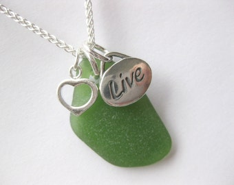 Love Jewelry Sea glass jewelry charm necklace  SS Message necklace