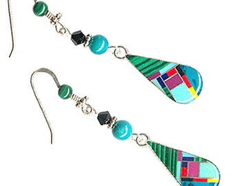 Zuni-style sterling silver inlaid turquoise malachite gemstone Southwest earrings mosaic