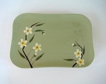 "Mid-Century Weil-Ware ""Blossom"" Pattern Platter-Celadon Green"