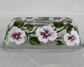 SALE-butter dish, hand painted butter dish, covered butter dish, glass butter dish, butter dish with white purple flowers