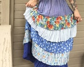 60's Hippie Ruffled Floor Length Skirt with Hodge Podge Patterns - MADE IN USA