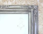 "ANY COLOR - Brushed Nickel Bathroom Mirror Framed Baroque Vanity Mirror Wall Mirror 31""x27"" Decorative Ornate Unique Mirror Rectangle"