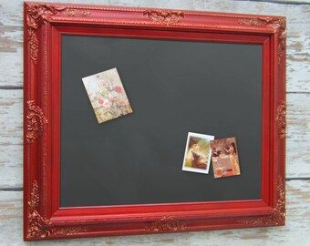 "NEW HOME GIFT Red Chalkboard 31""x27"" Magnet Board Office Magnetic Organizational Board Gifts For Her Tuscan Red Framed Magnetic Chalkboard"