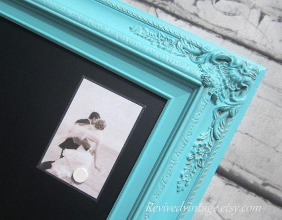 "BLUE WEDDING DECOR Magnetic Chalkboard 31""x20"" Robin's Egg Blue Wedding Decor Decorations Blue Blackboard Narrow Chalkboard Chalk board"