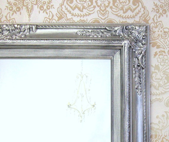 Ornate Bathroom Mirrors: ANY COLOR Brushed Nickel Bathroom Mirror Framed By