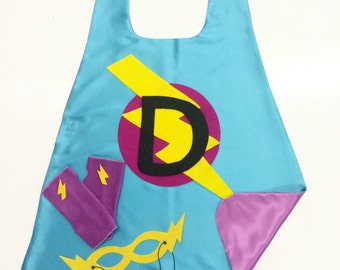 Ships Fast - Personalized Girl Superhero Cape Set - Customized Gift - Choose the Initial - Includes Cape + Bolt Mask + Power Gloves