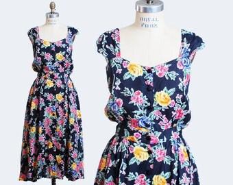 Vintage 90s Ditsy FLORAL Print Sun DRESS / Black Floral Print Cut Out Midi Dress, Small s