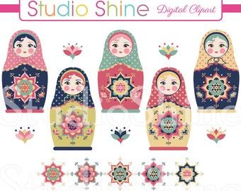 Russian Doll Clipart - Beautiful Digital Clip Art Matryoshka Doll Cute Nesting Dolls Babushka Dolls Instant Download Clipart Commercial Use