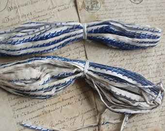 Vintage Trim. French Tape, Blue & White Lip Cord Piping. Old New Stock 10 yards Antique French Trim, Dolls Bears Crafts