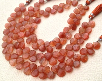 AAA Quality,Gorgeous Sparking Sunstone Smooth Heart Shape Briolettes,Full 8 Inch Strand, 8-9mm Larger Size,Great Price Item