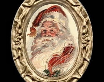 Vintage Victorian Miniature Dollhouse Santa Portrait Art Picture 6854