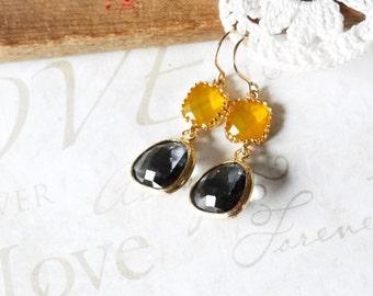 LEMON drop and charcoal grey crystal drop chandelier earrings (gold)