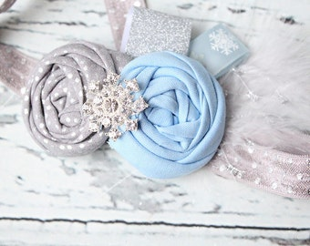 Snoel - blue silver and white vintage inspired holiday headband